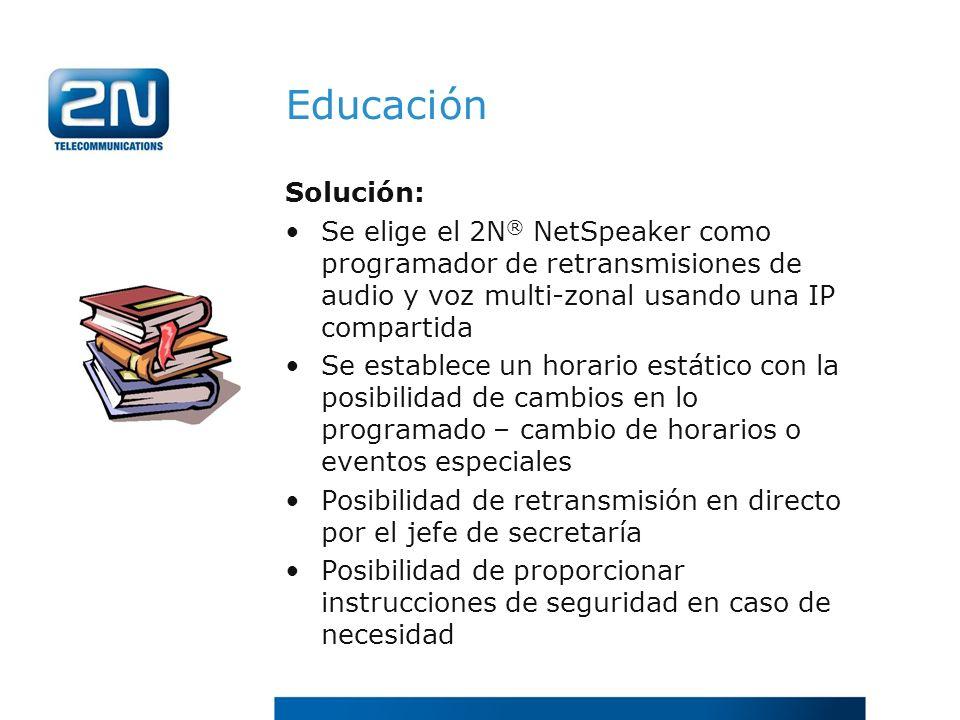 Educación Solución: Se elige el 2N ® NetSpeaker como programador de retransmisiones de audio y voz multi-zonal usando una IP compartida Se establece u