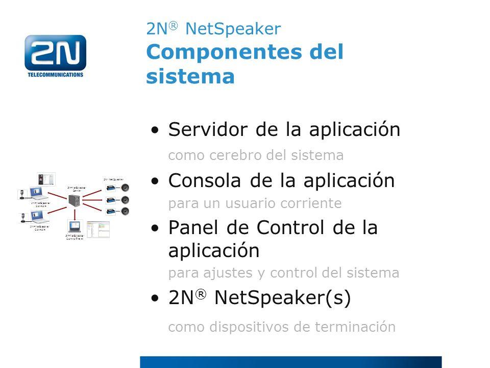 2N ® NetSpeaker Componentes del sistema Servidor de la aplicación como cerebro del sistema Consola de la aplicación para un usuario corriente Panel de