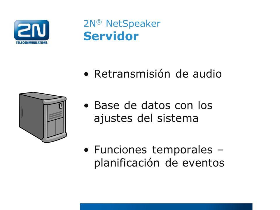 2N ® NetSpeaker Servidor Retransmisión de audio Base de datos con los ajustes del sistema Funciones temporales – planificación de eventos