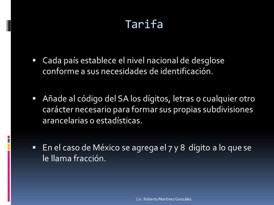 Tarifa Cada país establece el nivel nacional de desglose conforme a sus necesidades de identificación. Añade al código del SA los dígitos, letras o cu
