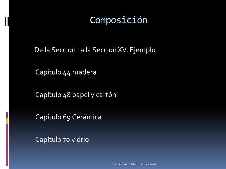 Composición De la Sección I a la Sección XV. Ejemplo Capítulo 44 madera Capítulo 48 papel y cartón Capítulo 69 Cerámica Capítulo 70 vidrio Lic. Robert
