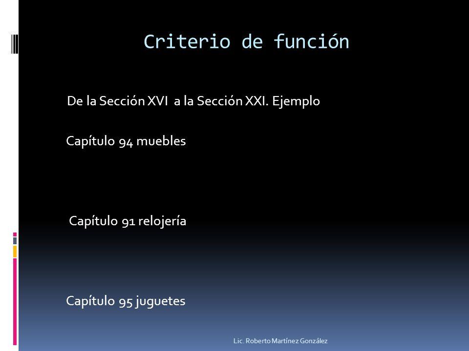 Criterio de función De la Sección XVI a la Sección XXI. Ejemplo Capítulo 94 muebles Capítulo 91 relojería Capítulo 95 juguetes Lic. Roberto Martínez G