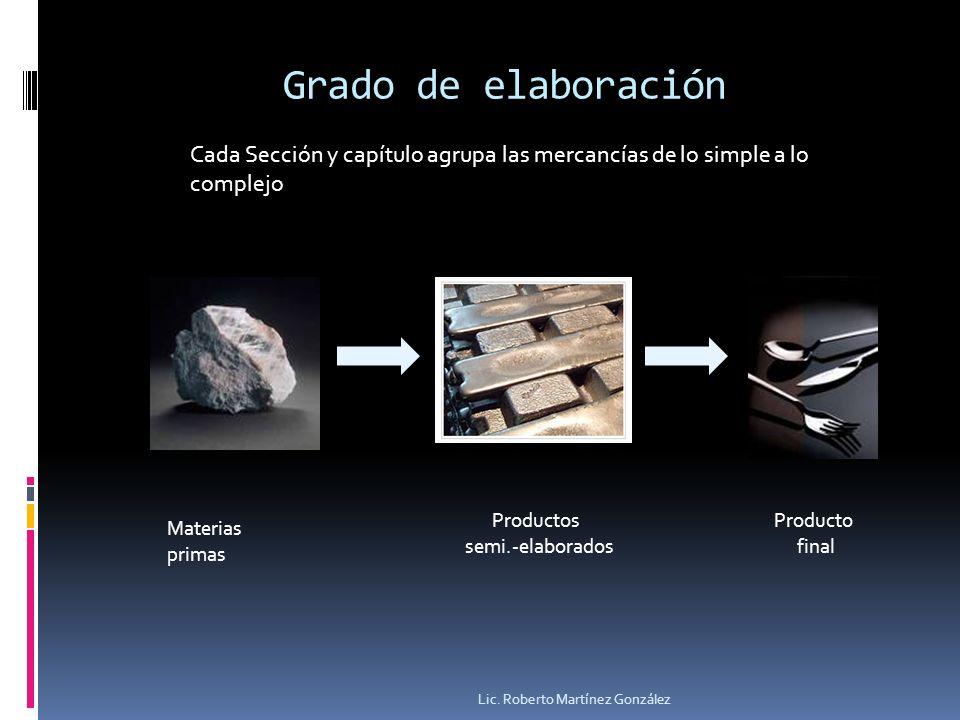 Grado de elaboración Lic. Roberto Martínez González Cada Sección y capítulo agrupa las mercancías de lo simple a lo complejo Productos semi.-elaborado