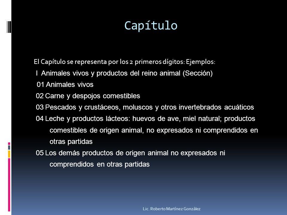 Capítulo El Capítulo se representa por los 2 primeros dígitos: Ejemplos: I Animales vivos y productos del reino animal (Sección) 01 Animales vivos 02