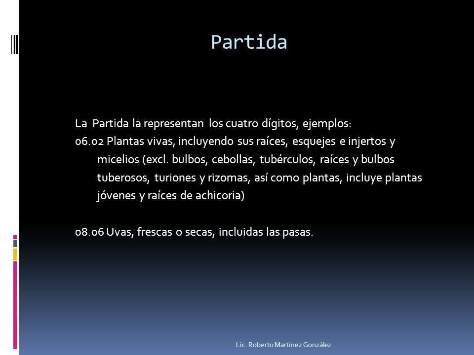 Partida La Partida la representan los cuatro dígitos, ejemplos: 06.02 Plantas vivas, incluyendo sus raíces, esquejes e injertos y micelios (excl. bulb