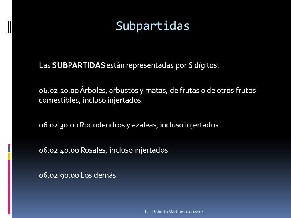 Subpartidas Las SUBPARTIDAS están representadas por 6 dígitos: 06.02.20.00 Árboles, arbustos y matas, de frutas o de otros frutos comestibles, incluso