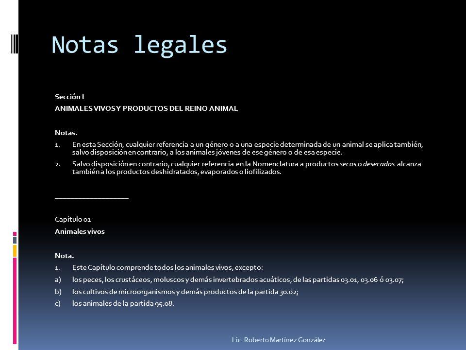 Notas legales Sección I ANIMALES VIVOS Y PRODUCTOS DEL REINO ANIMAL Notas. 1.En esta Sección, cualquier referencia a un género o a una especie determi