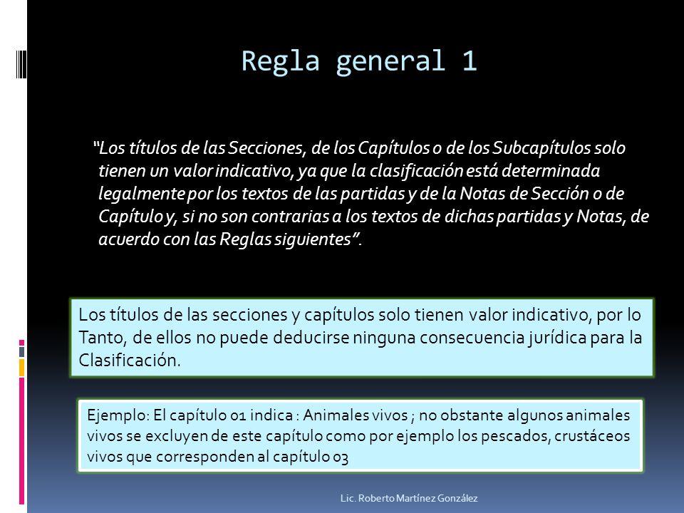 Regla general 1 Los títulos de las Secciones, de los Capítulos o de los Subcapítulos solo tienen un valor indicativo, ya que la clasificación está det