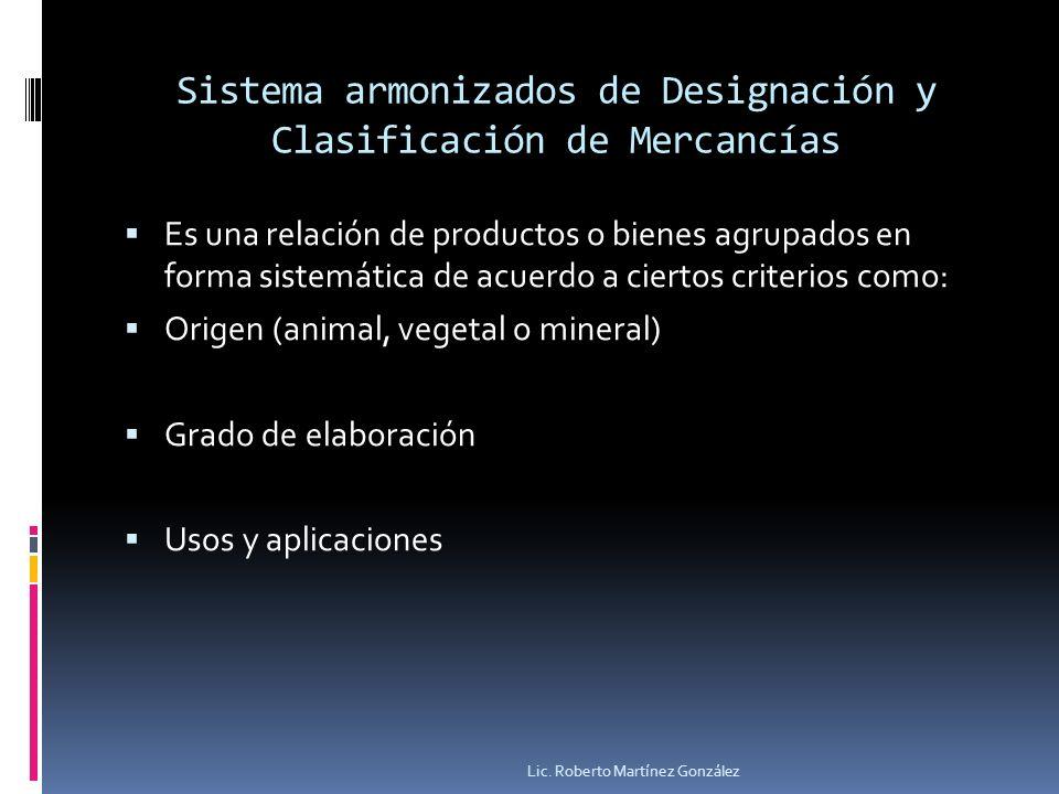 Sistema armonizados de Designación y Clasificación de Mercancías Es una relación de productos o bienes agrupados en forma sistemática de acuerdo a cie