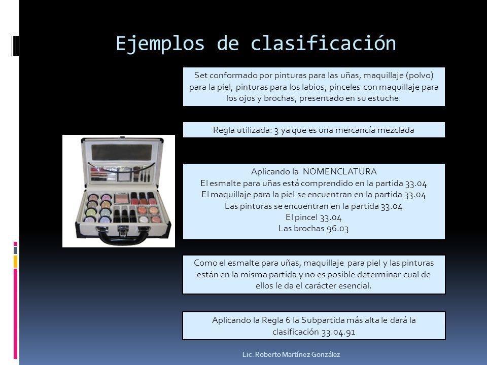 Ejemplos de clasificación Lic. Roberto Martínez González Set conformado por pinturas para las uñas, maquillaje (polvo) para la piel, pinturas para los