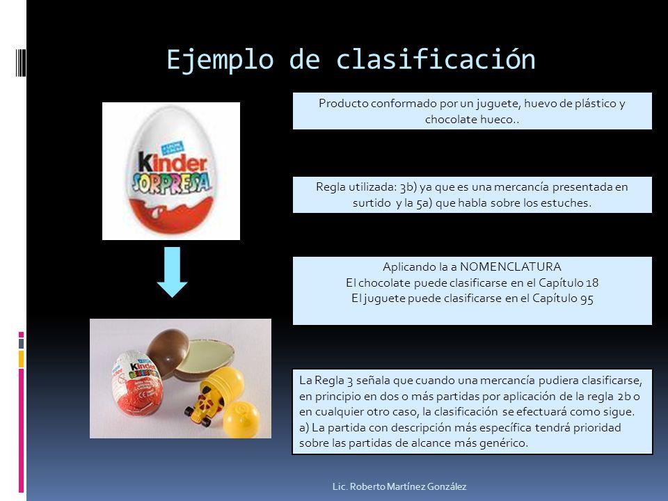 Ejemplo de clasificación Lic. Roberto Martínez González Producto conformado por un juguete, huevo de plástico y chocolate hueco.. Regla utilizada: 3b)