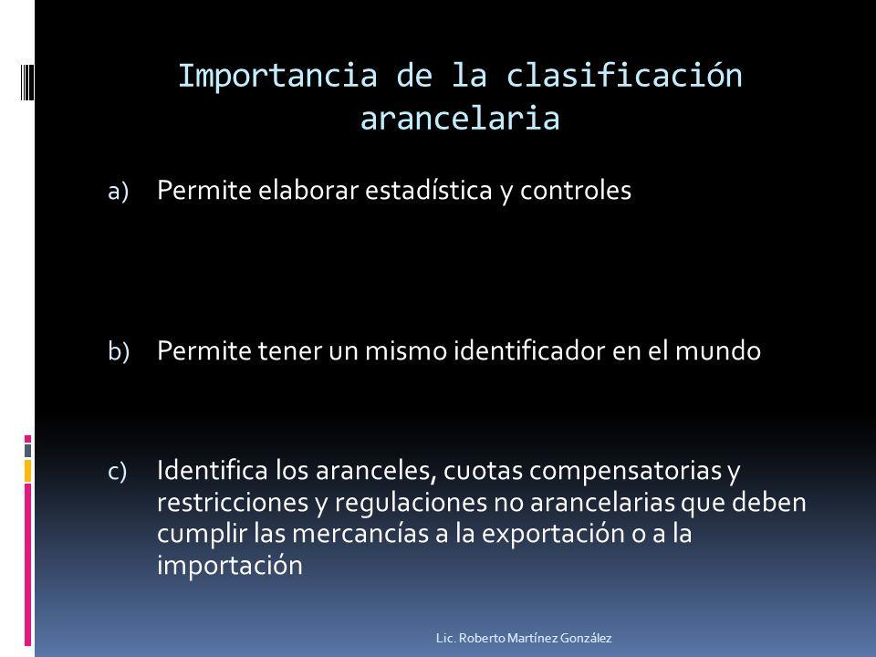 Importancia de la clasificación arancelaria a) Permite elaborar estadística y controles b) Permite tener un mismo identificador en el mundo c) Identif