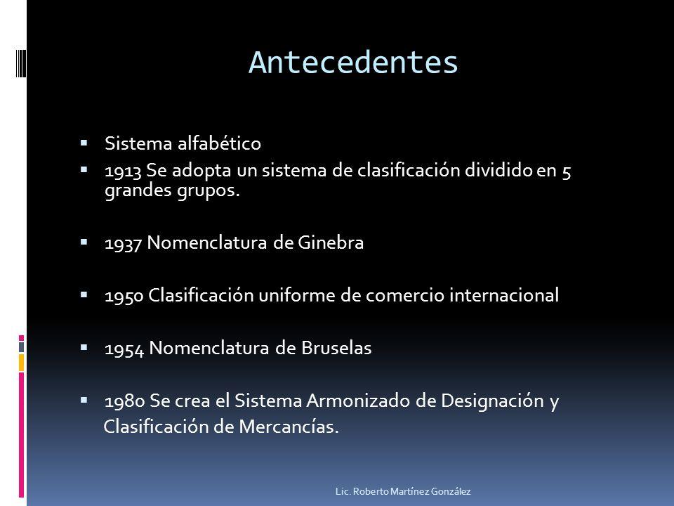Antecedentes Sistema alfabético 1913 Se adopta un sistema de clasificación dividido en 5 grandes grupos. 1937 Nomenclatura de Ginebra 1950 Clasificaci
