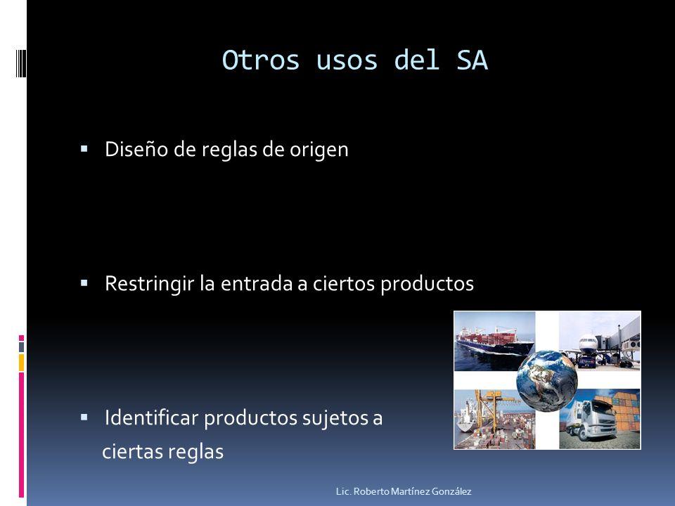 Otros usos del SA Diseño de reglas de origen Restringir la entrada a ciertos productos Identificar productos sujetos a ciertas reglas Lic. Roberto Mar