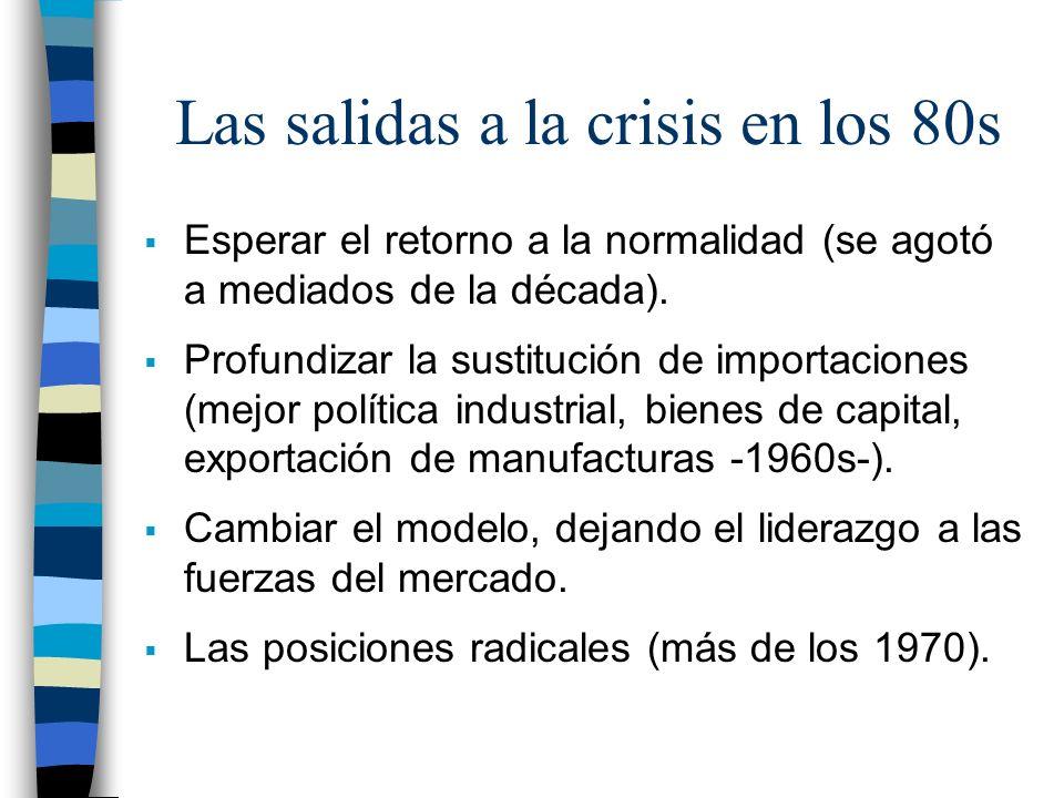 Las salidas a la crisis en los 80s Esperar el retorno a la normalidad (se agotó a mediados de la década). Profundizar la sustitución de importaciones