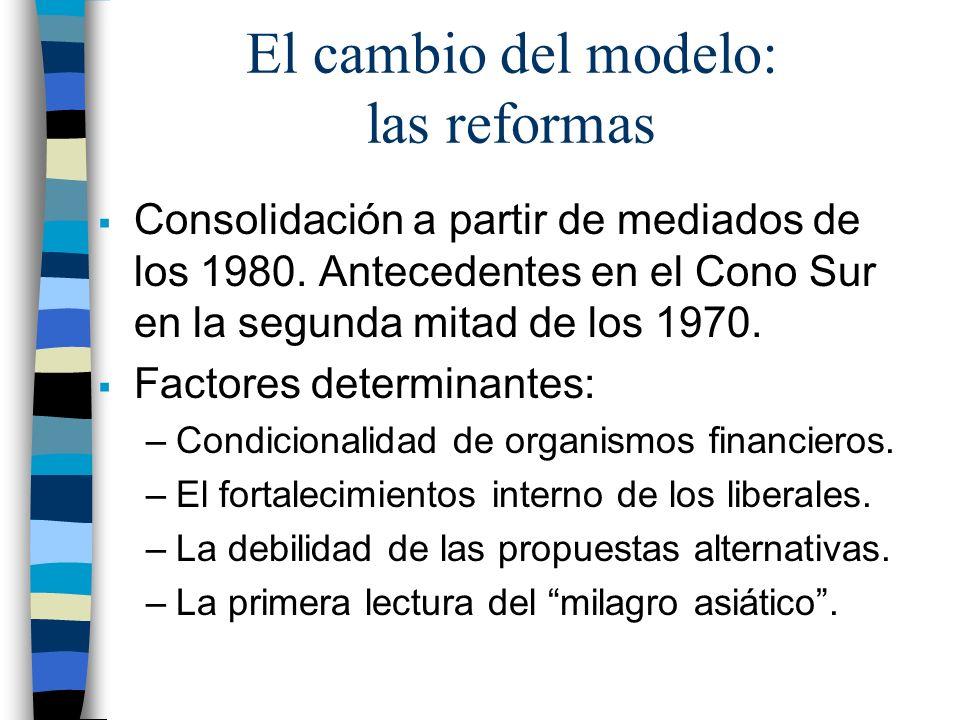 El cambio del modelo: las reformas Consolidación a partir de mediados de los 1980. Antecedentes en el Cono Sur en la segunda mitad de los 1970. Factor