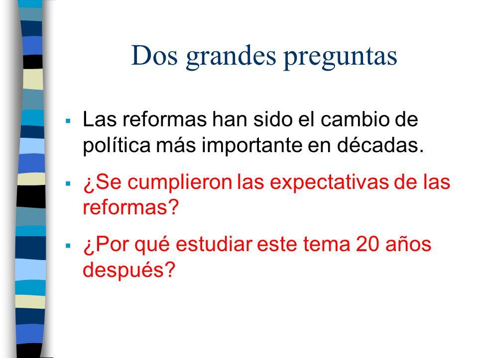 Dos grandes preguntas Las reformas han sido el cambio de política más importante en décadas.