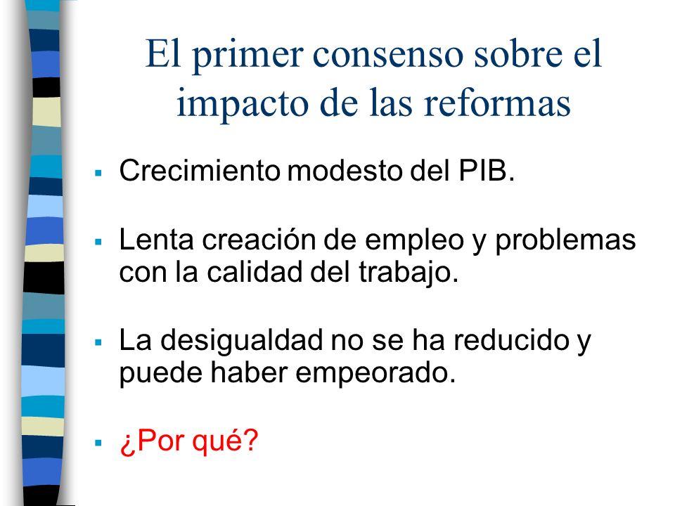 El primer consenso sobre el impacto de las reformas Crecimiento modesto del PIB. Lenta creación de empleo y problemas con la calidad del trabajo. La d
