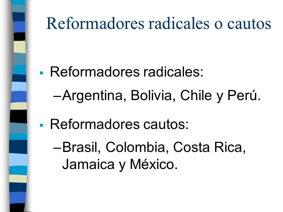 Reformadores radicales o cautos Reformadores radicales: –Argentina, Bolivia, Chile y Perú.