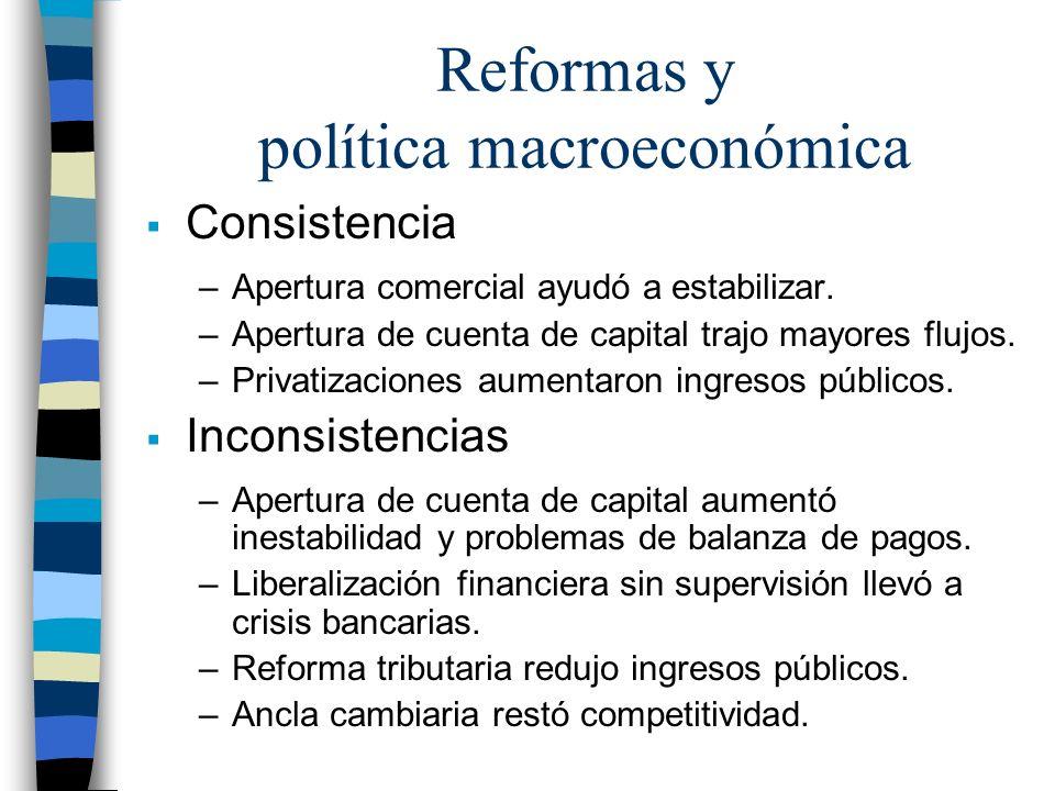 Reformas y política macroeconómica Consistencia –Apertura comercial ayudó a estabilizar. –Apertura de cuenta de capital trajo mayores flujos. –Privati
