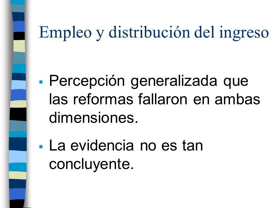 Empleo y distribución del ingreso Percepción generalizada que las reformas fallaron en ambas dimensiones.