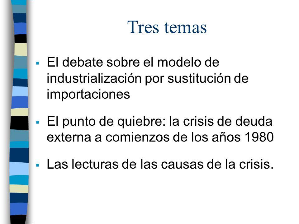 Tres temas El debate sobre el modelo de industrialización por sustitución de importaciones El punto de quiebre: la crisis de deuda externa a comienzos de los años 1980 Las lecturas de las causas de la crisis.