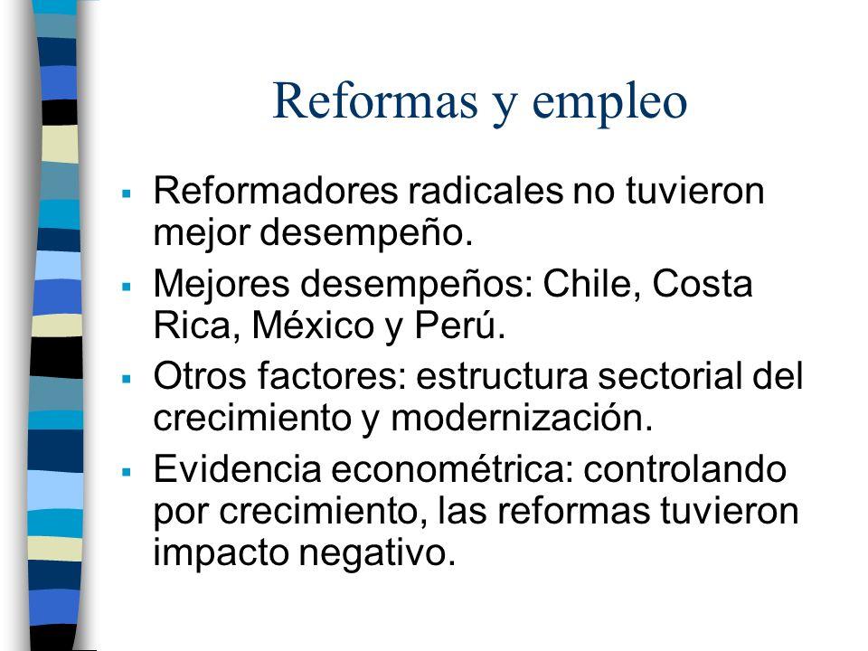 Reformas y empleo Reformadores radicales no tuvieron mejor desempeño. Mejores desempeños: Chile, Costa Rica, México y Perú. Otros factores: estructura