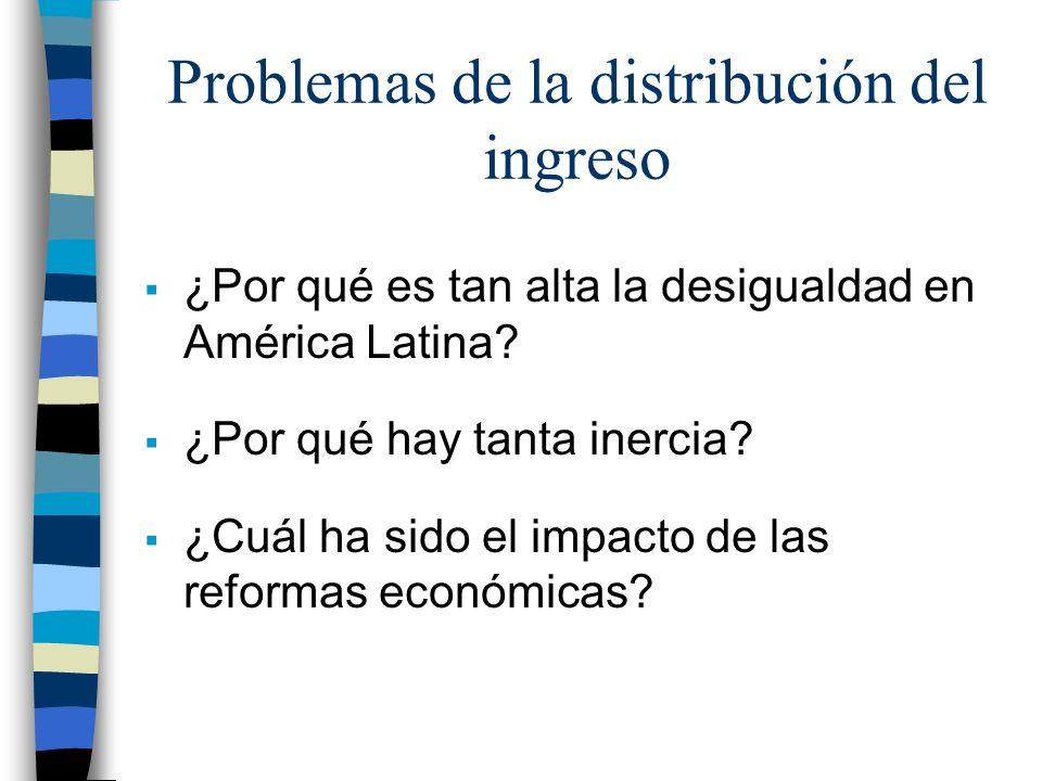 Problemas de la distribución del ingreso ¿Por qué es tan alta la desigualdad en América Latina? ¿Por qué hay tanta inercia? ¿Cuál ha sido el impacto d