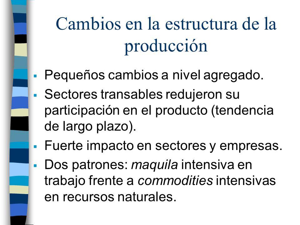 Cambios en la estructura de la producción Pequeños cambios a nivel agregado. Sectores transables redujeron su participación en el producto (tendencia