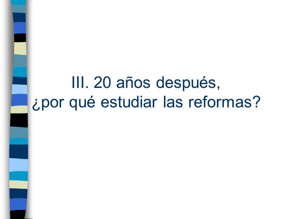 III. 20 años después, ¿por qué estudiar las reformas?