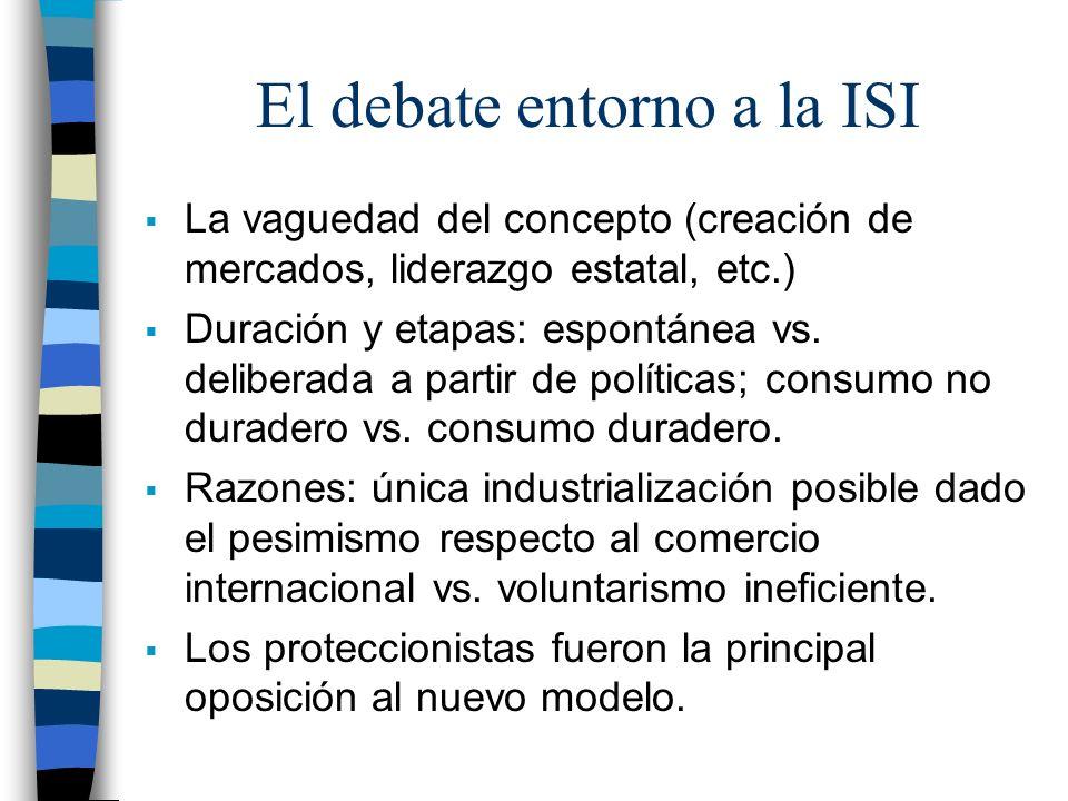 El debate entorno a la ISI La vaguedad del concepto (creación de mercados, liderazgo estatal, etc.) Duración y etapas: espontánea vs. deliberada a par
