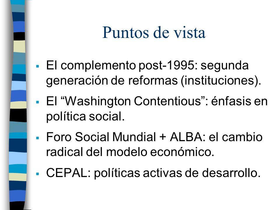 Puntos de vista El complemento post-1995: segunda generación de reformas (instituciones). El Washington Contentious: énfasis en política social. Foro