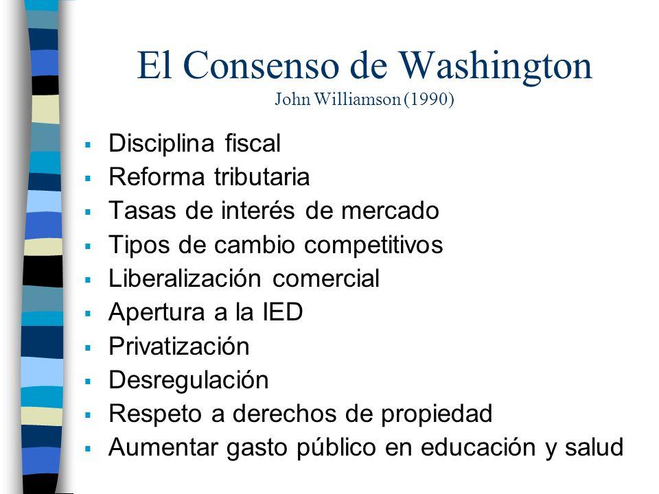 El Consenso de Washington John Williamson (1990) Disciplina fiscal Reforma tributaria Tasas de interés de mercado Tipos de cambio competitivos Liberalización comercial Apertura a la IED Privatización Desregulación Respeto a derechos de propiedad Aumentar gasto público en educación y salud