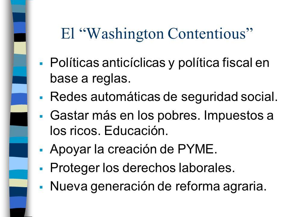 El Washington Contentious Políticas anticíclicas y política fiscal en base a reglas. Redes automáticas de seguridad social. Gastar más en los pobres.