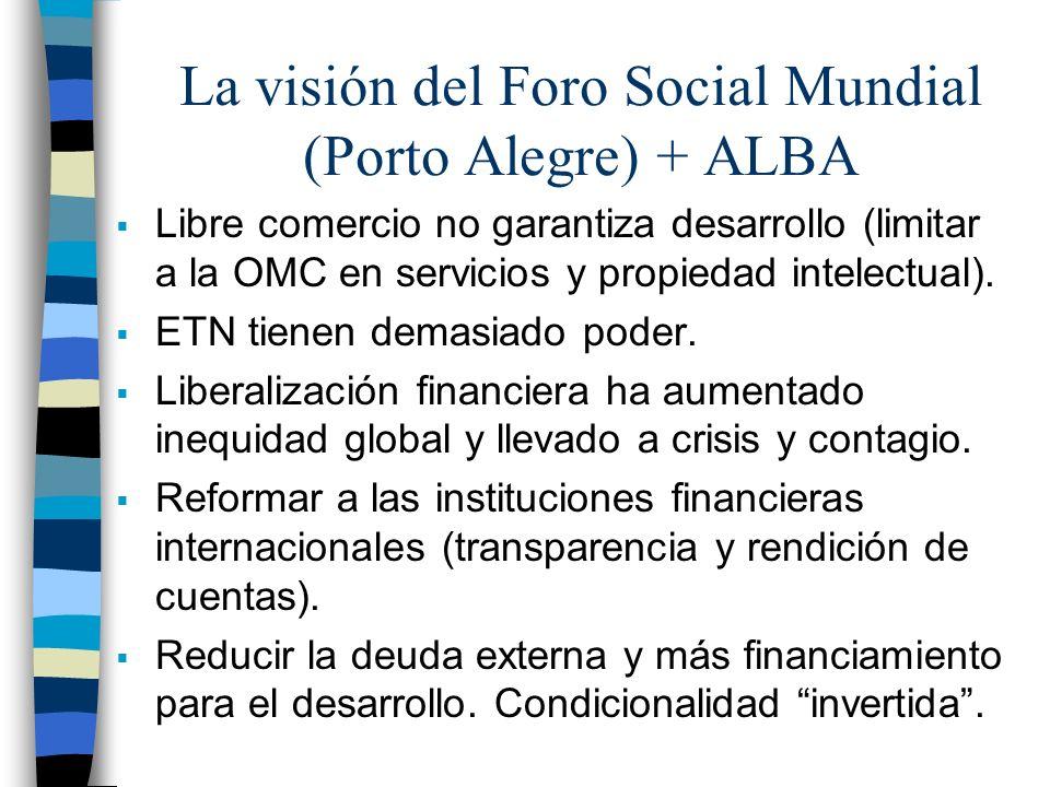 La visión del Foro Social Mundial (Porto Alegre) + ALBA Libre comercio no garantiza desarrollo (limitar a la OMC en servicios y propiedad intelectual).