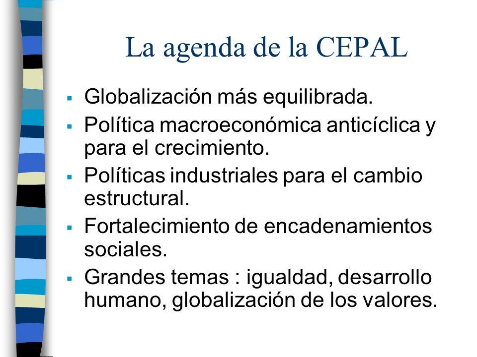 La agenda de la CEPAL Globalización más equilibrada. Política macroeconómica anticíclica y para el crecimiento. Políticas industriales para el cambio