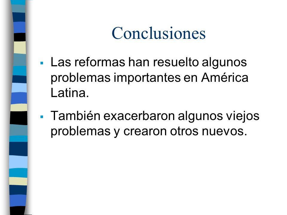 Conclusiones Las reformas han resuelto algunos problemas importantes en América Latina. También exacerbaron algunos viejos problemas y crearon otros n