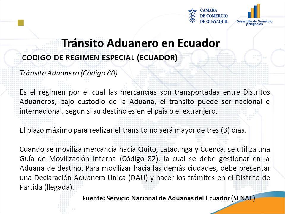 Tránsito Aduanero (Código 80) Es el régimen por el cual las mercancías son transportadas entre Distritos Aduaneros, bajo custodio de la Aduana, el tra
