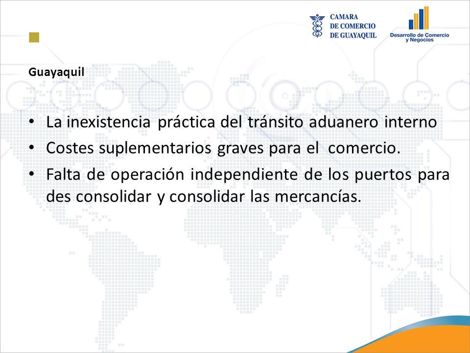 Guayaquil La inexistencia práctica del tránsito aduanero interno Costes suplementarios graves para el comercio. Falta de operación independiente de lo