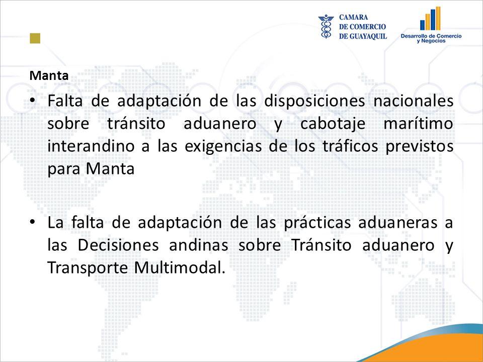 Manta Falta de adaptación de las disposiciones nacionales sobre tránsito aduanero y cabotaje marítimo interandino a las exigencias de los tráficos pre
