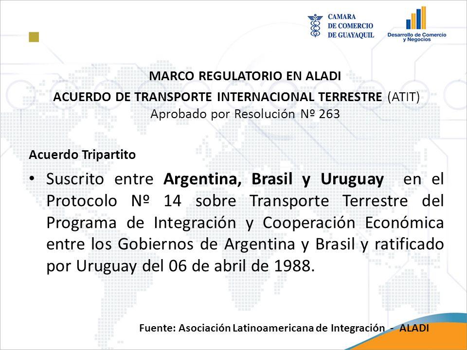 MARCO REGULATORIO EN ALADI ACUERDO DE TRANSPORTE INTERNACIONAL TERRESTRE (ATIT) Aprobado por Resolución Nº 263 Acuerdo Tripartito Suscrito entre Argen