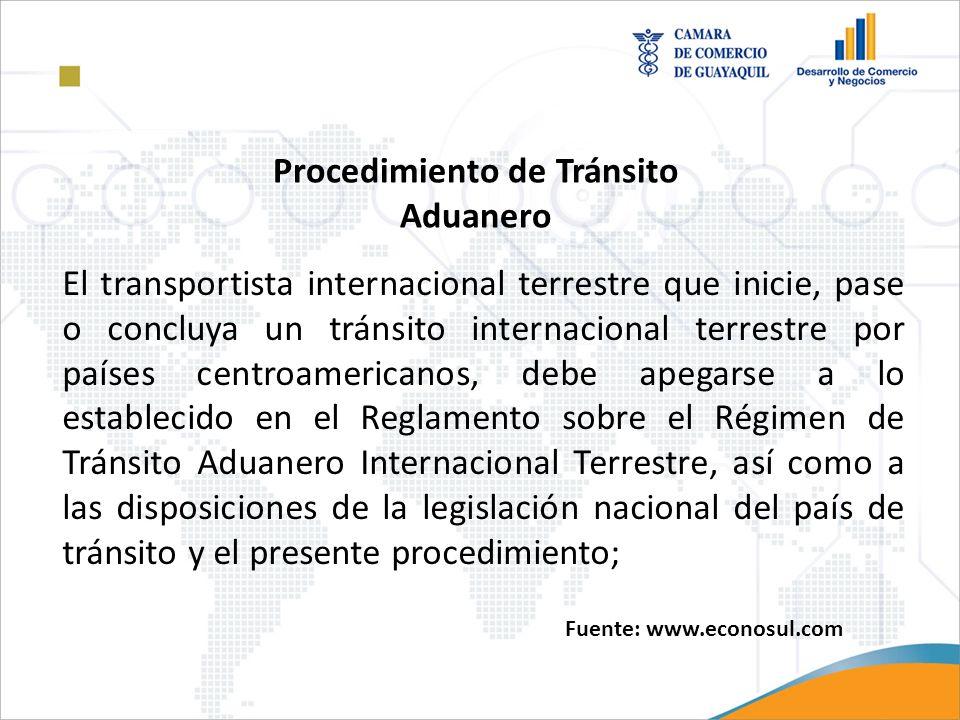 El transportista internacional terrestre que inicie, pase o concluya un tránsito internacional terrestre por países centroamericanos, debe apegarse a