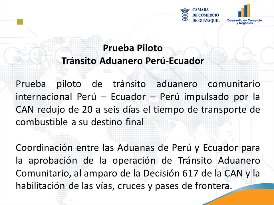 Prueba piloto de tránsito aduanero comunitario internacional Perú – Ecuador – Perú impulsado por la CAN redujo de 20 a seis días el tiempo de transpor