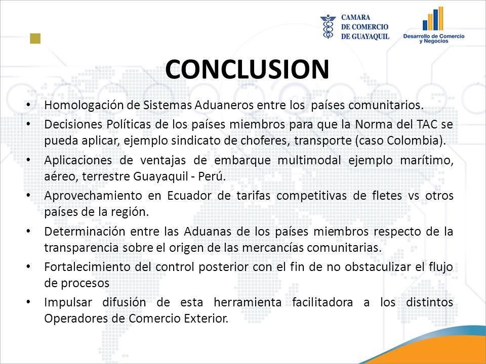 CONCLUSION Homologación de Sistemas Aduaneros entre los países comunitarios. Decisiones Políticas de los países miembros para que la Norma del TAC se