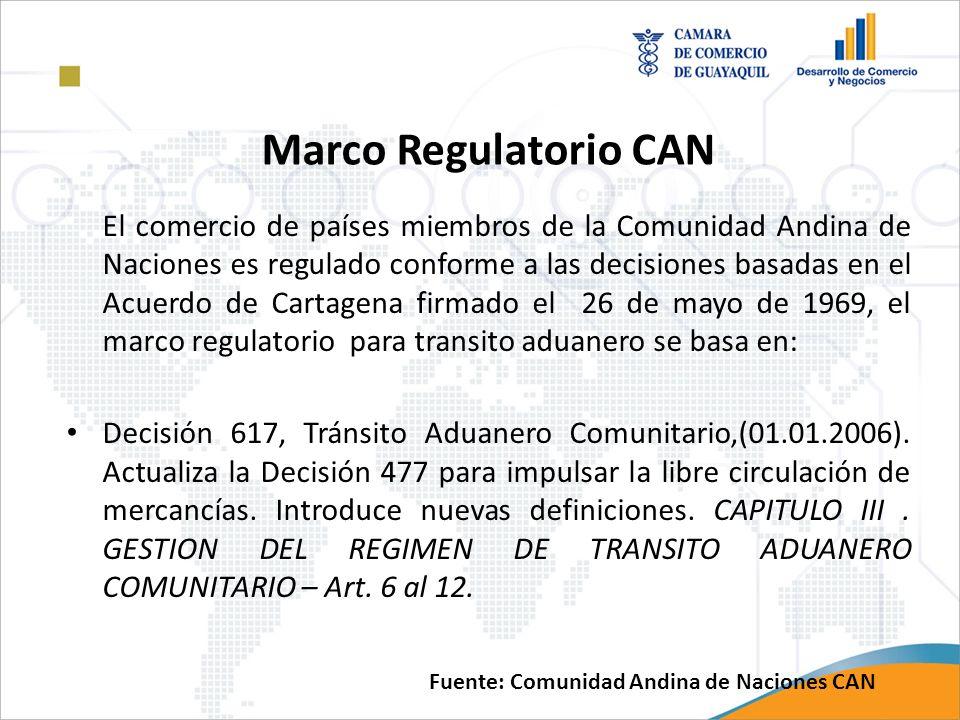 Marco Regulatorio CAN El comercio de países miembros de la Comunidad Andina de Naciones es regulado conforme a las decisiones basadas en el Acuerdo de