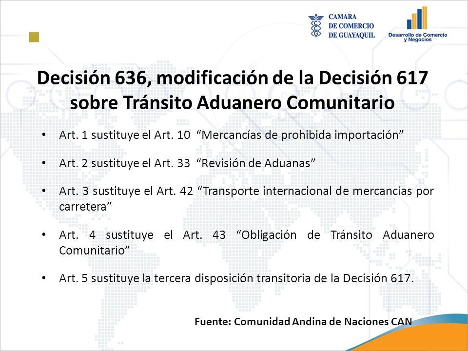 f)Presentación de los documentos anexos establecidos en el artículo 12 de la presente Decisión; y g)Otros requisitos y formalidades de acuerdo con las características de la operación de tránsito aduanero comunitario, del medio de transporte, unidad de carga y la mercancía transportada, previstas en disposiciones comunitarias