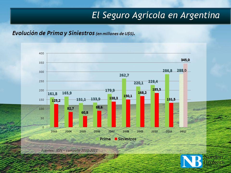 El Seguro Agrícola en Argentina Evolución de Prima y Siniestros (en millones de U$S). Fuentes: SSN – campaña 2010-2011