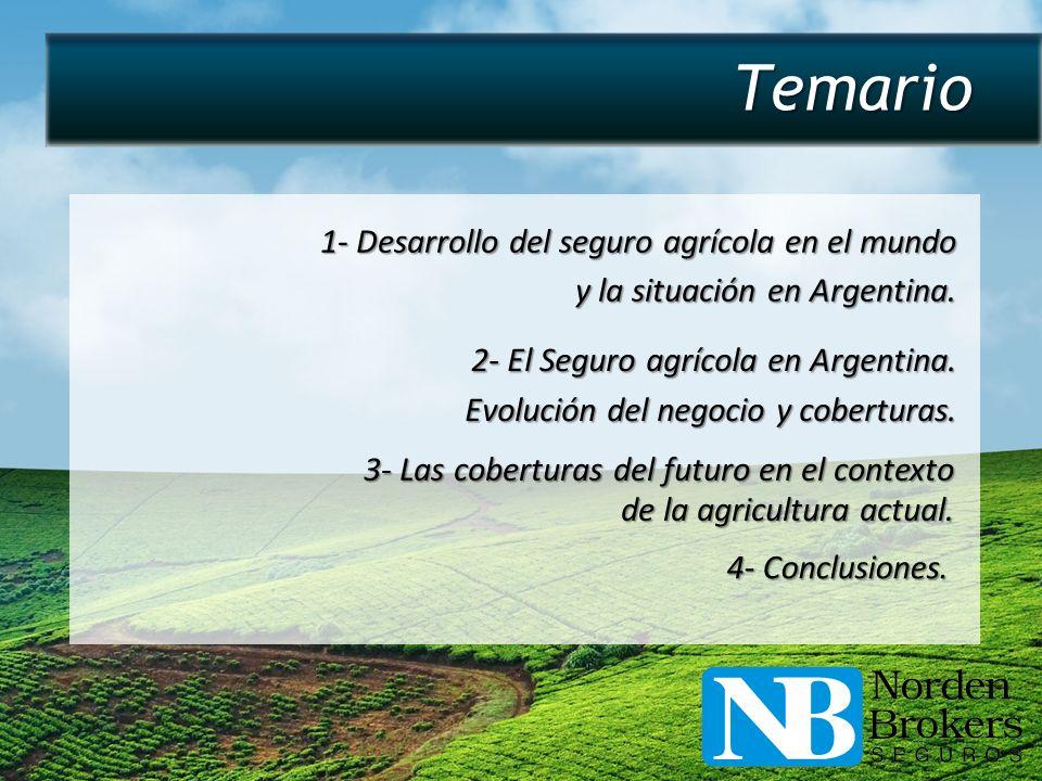 Temario 1- Desarrollo del seguro agrícola en el mundo y la situación en Argentina. 2- El Seguro agrícola en Argentina. Evolución del negocio y cobertu