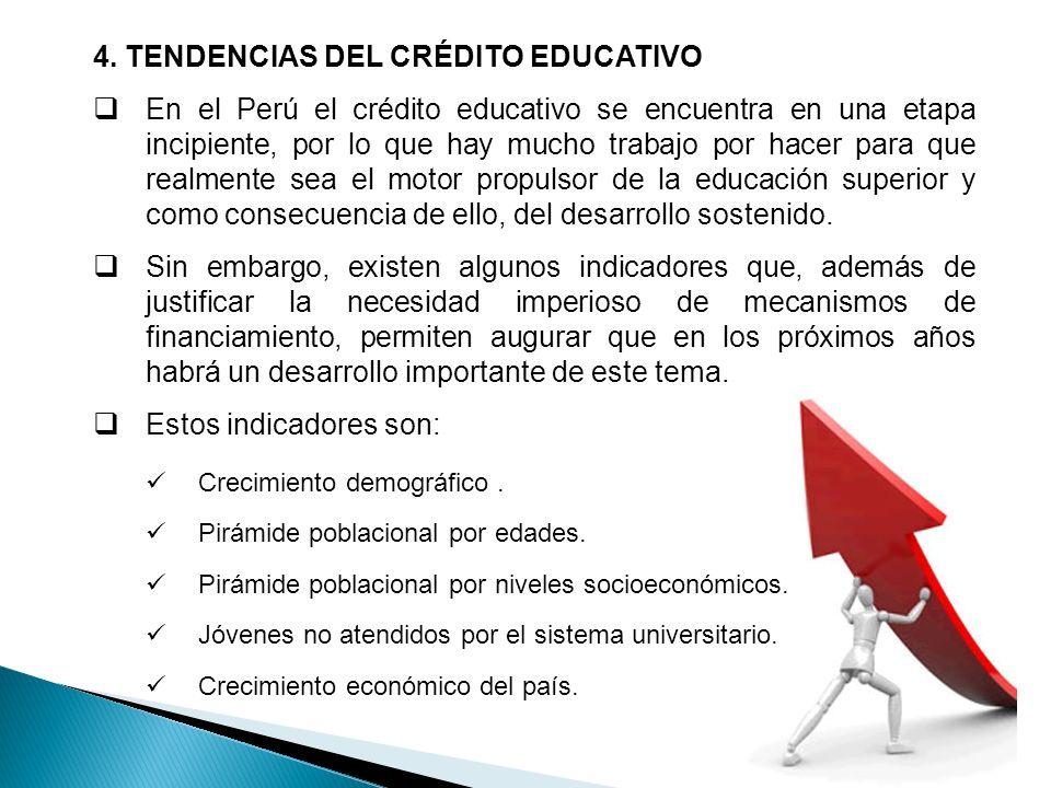 4. TENDENCIAS DEL CRÉDITO EDUCATIVO En el Perú el crédito educativo se encuentra en una etapa incipiente, por lo que hay mucho trabajo por hacer para