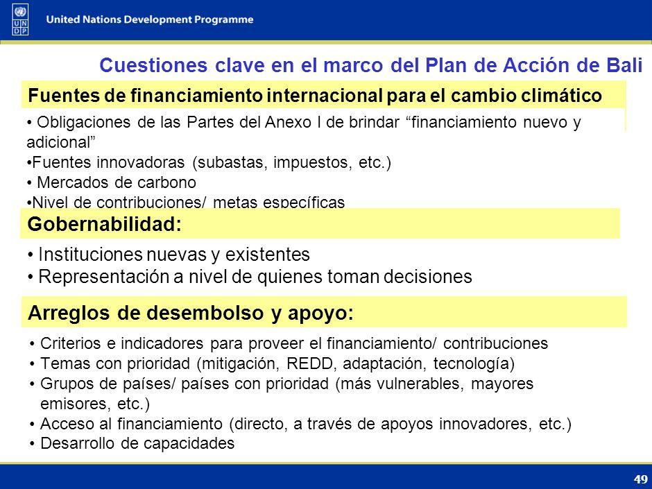 50 Opciones de financiamiento Aumento de la escala de los mecanismos existentes MDL y otros posibles mecanismos de crédito: $25 Fondo para la Adaptación: $0.5-2(billones de US$) Contribuciones de los países desarrollados1 Mecanismo de Compromisos Financieros en el marco de la Convención: $130-260(billones de US$) Contribuciones de los países desarrollados y en desarrollo Fondo Mundial para el Cambio Climático: $10 Fondo Multilateral para la Adaptación: $18(billones de US$) Compromisos más estrictos de los países desarrollados Subasta de Unidades de Montos Asignados : $5 (billones de US$) Para mayor información, consultar documento PNUD: Negociaciones sobre flujos de inversión y financiamiento adicionales para tratar el cambio climático en los países en desarrollo, tabla 6, 2008